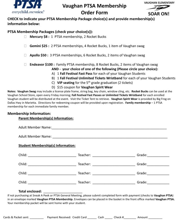 2016-2017 Vaughan PTSA Membership Form