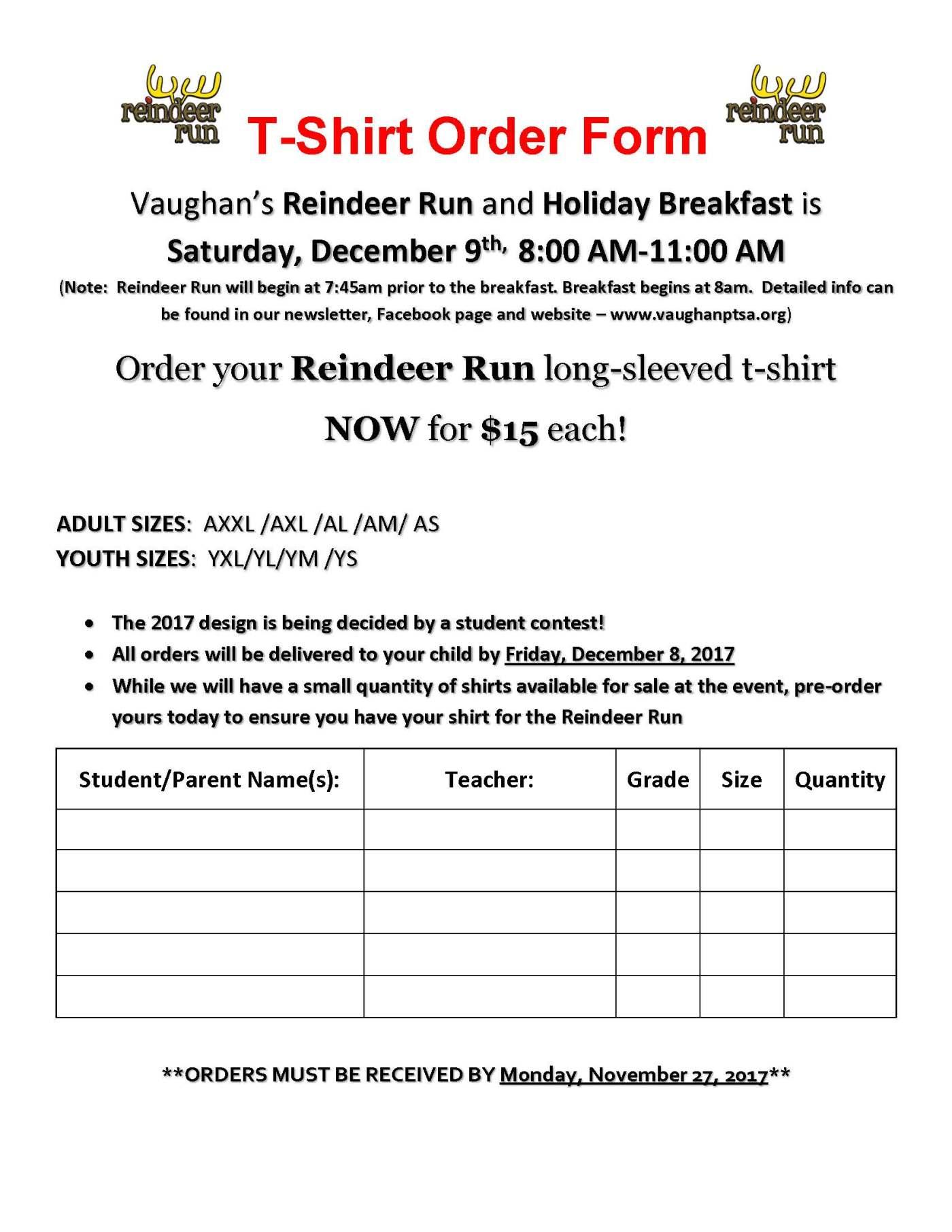 Reindeer Run TShirt Order Form – T Shirt Order Form