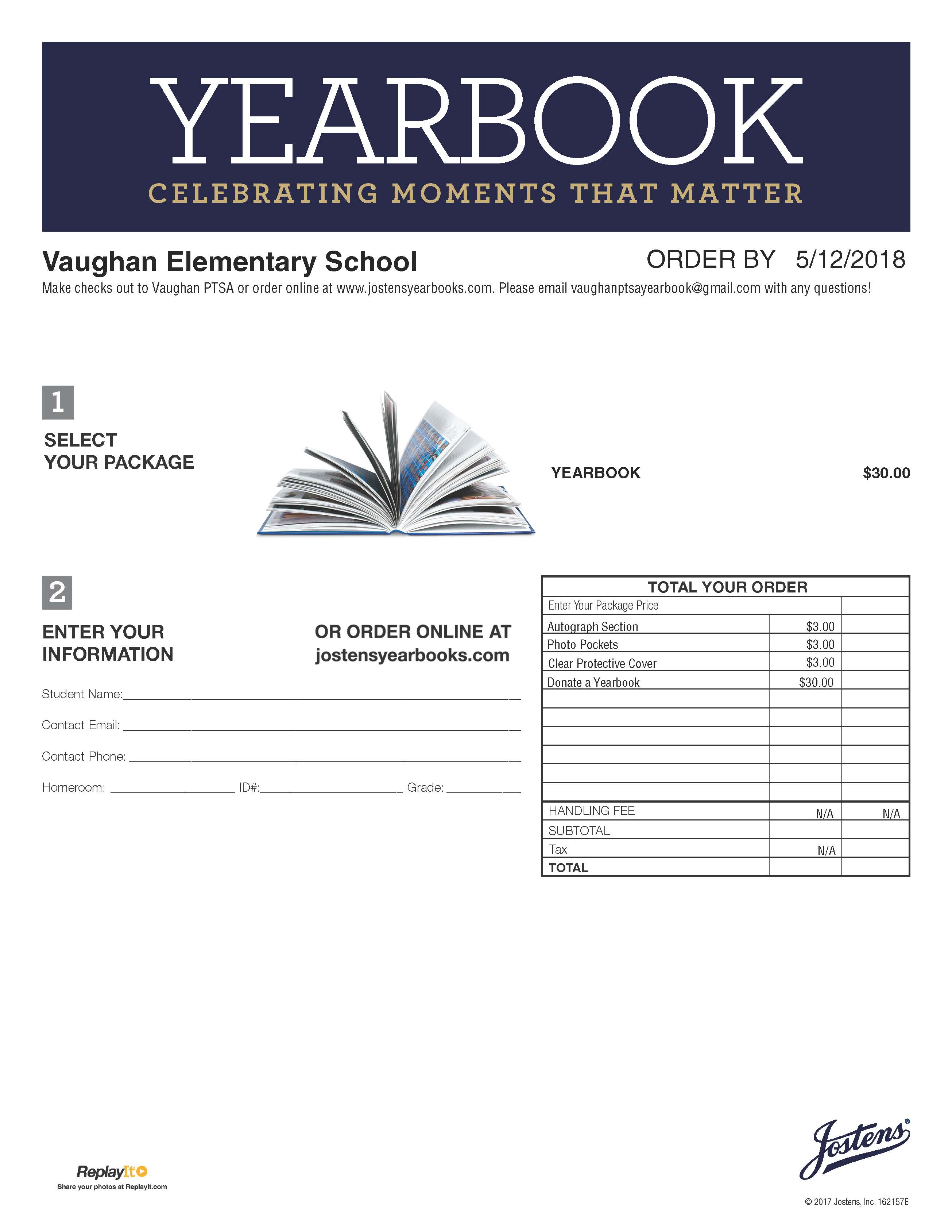 Last Day To Order Yearbook Is 5 12 Vaughan Rockets Ptsa Form