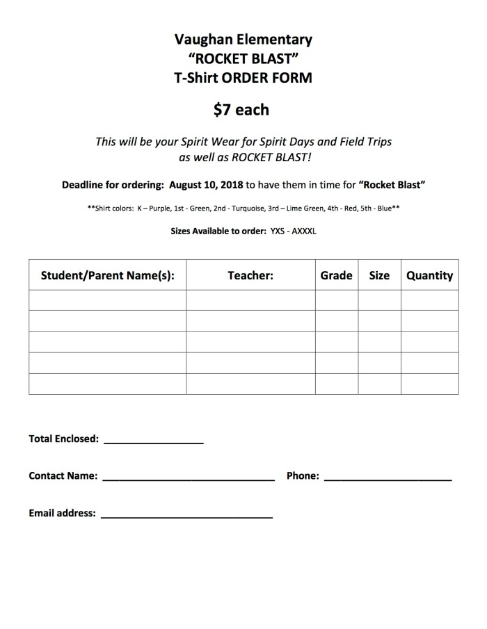 2018 Vaughan Rocket Blast Shirt Order Form