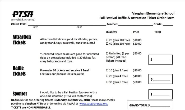 Fall Festival Order Form