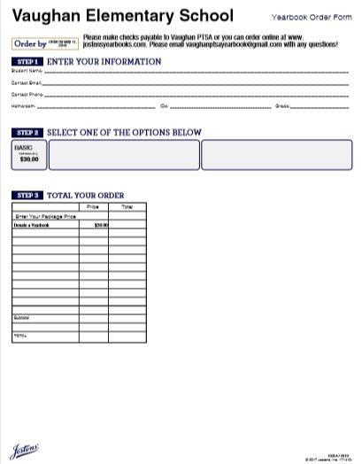 Yearbook- Spring Order Form 2018-19
